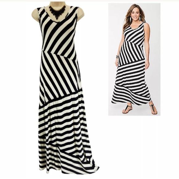 14da25e4a7e Lane Bryant Dresses   Skirts - 18 20 2X▫️BLACK WHITE STRIPED MAXI DRESS Plus